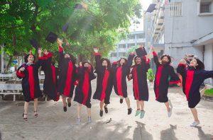 students jubilating